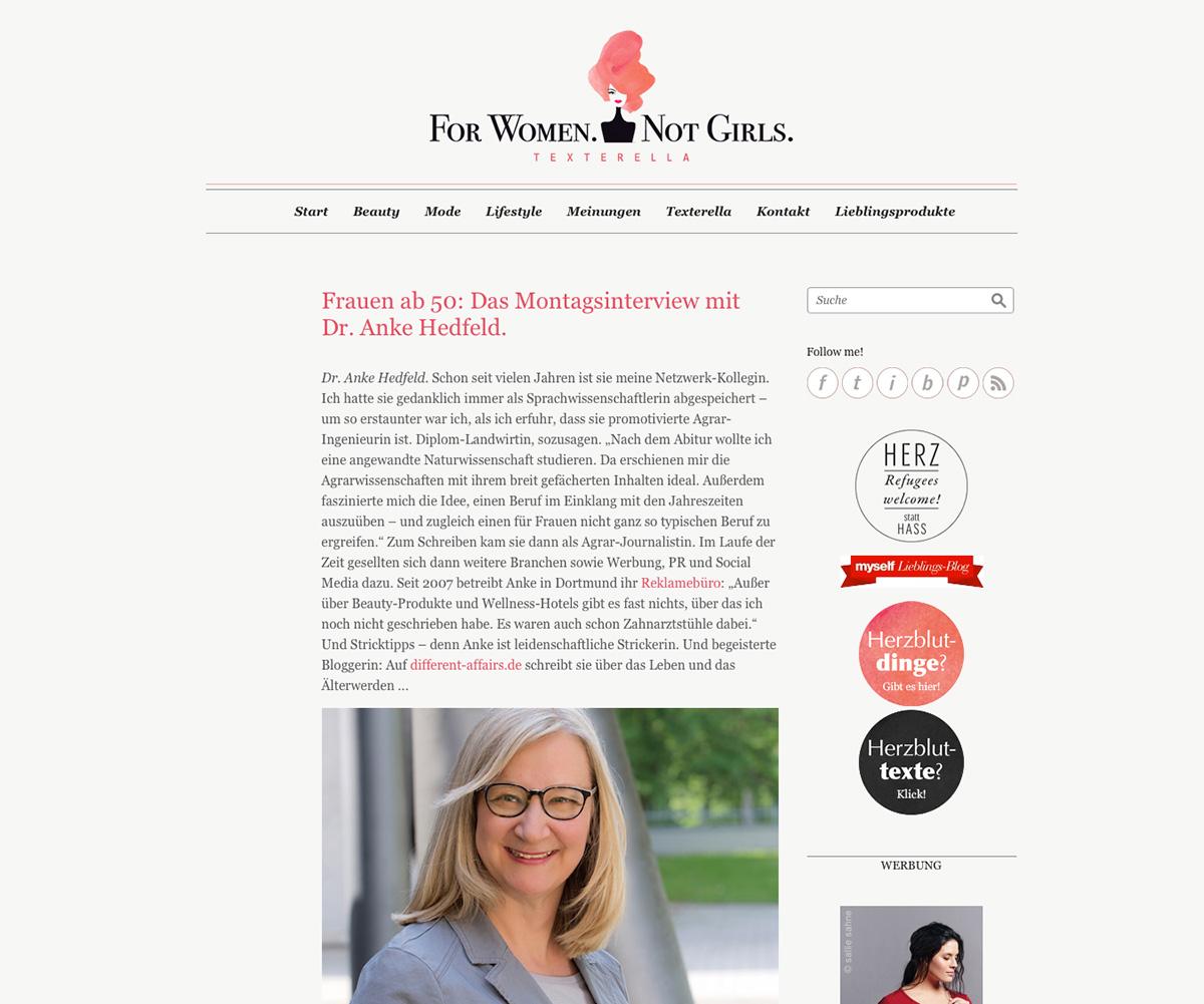Dr. Anke Hedfeld im Montagsinterview bei Susanne Ackstaller, texterella