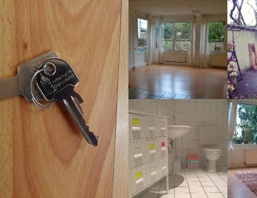 Hausschlüssel und eine Collage aus verschiedenen Ansichten eines Appartements