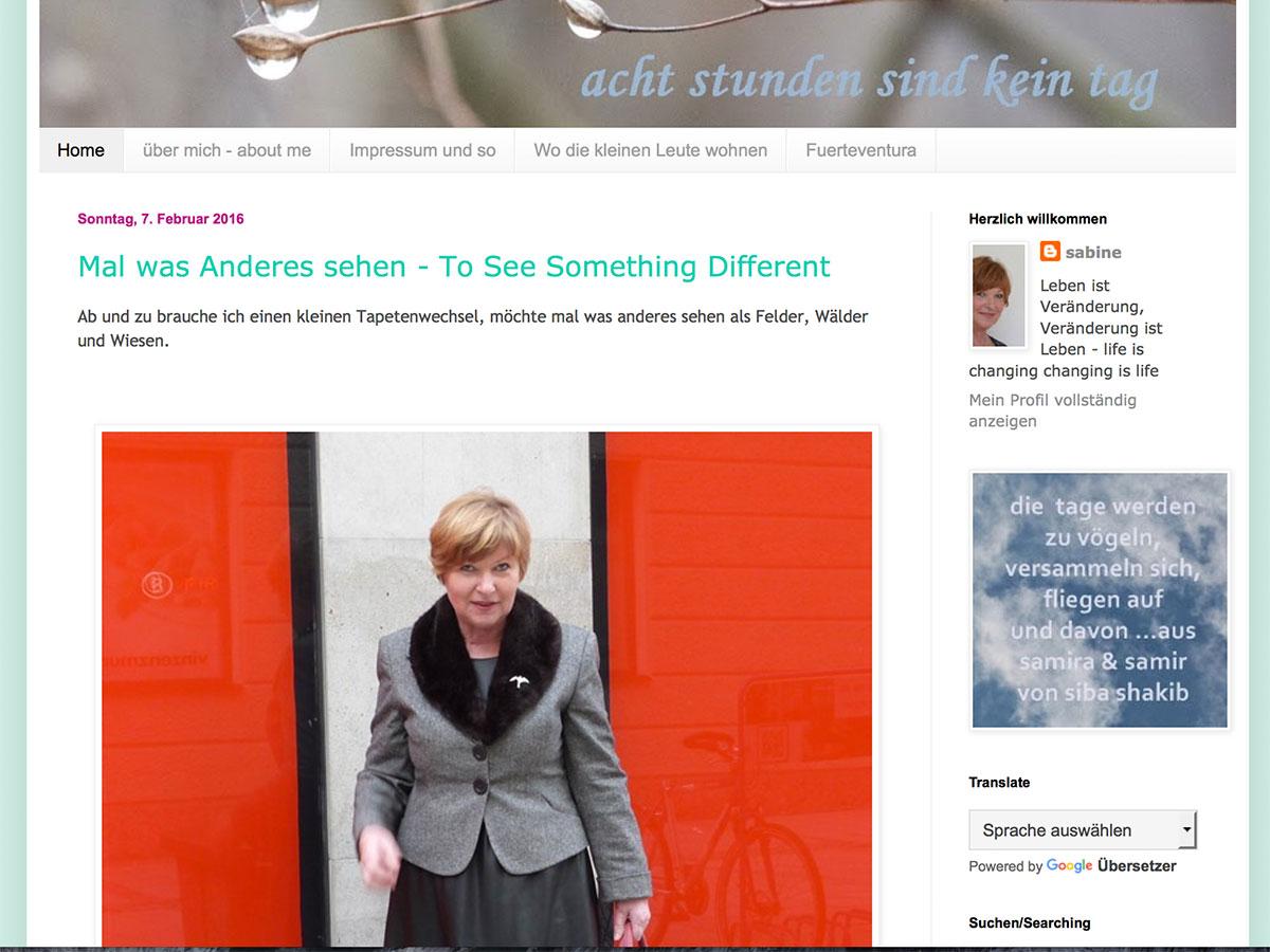 """Screenshot vom Blog """"Acht Stunden sind kein Tag"""""""