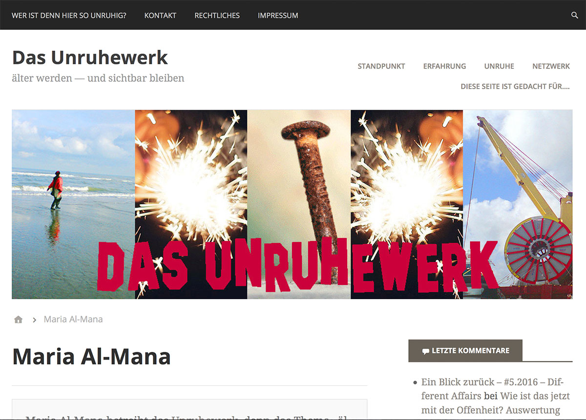 "Screenshot vom Blog ""Unruhewerk"" Maria Al-Mana"