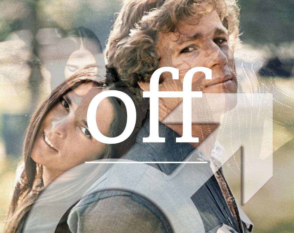 """Fotocollage aus Bildern des Films """"Love story"""" mit Ali MacGraw und Ryan O'Neill und dem männlichen Gendersymbol darüber der Schriftzug """"off"""""""