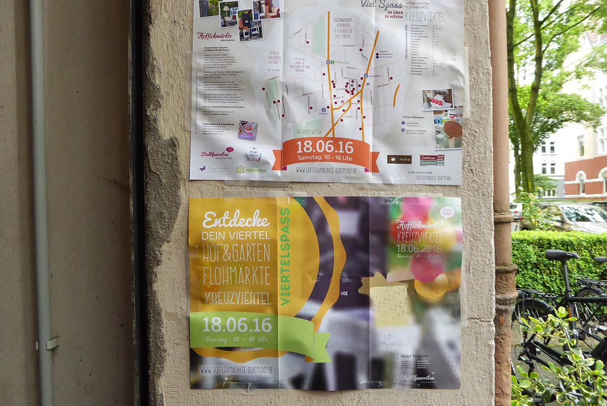 Hofflohmärkte Dortmund Kreuzviertel im Juni 2016 Plakate an einer Häuserwand