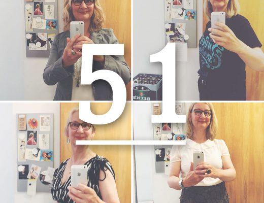 Verschiedene Selfies von Dr. Anke Hedfeld zu einer Collage zusammengefügt. Darüber steht die Zahl 51 mit einem Strick darunter