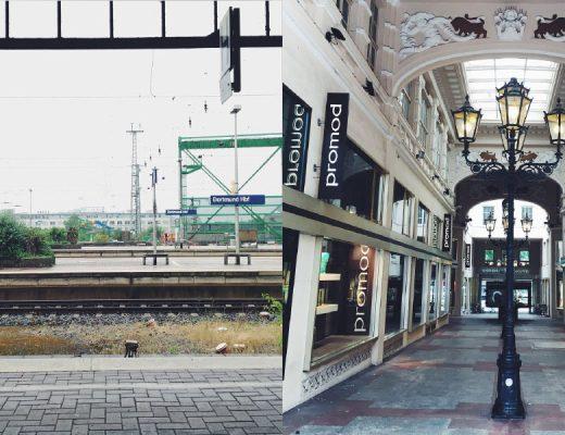 """Ein Blick von einem Bahnsteig am Dortmunder Hauptbahnhof, gegenüberliegendes Gleis mit Hinweisschild """"Dortmund Hbf"""", daneben ein Bild aus Dortmunds opulenter Krügerpassage mit Laternen in der Mitte"""