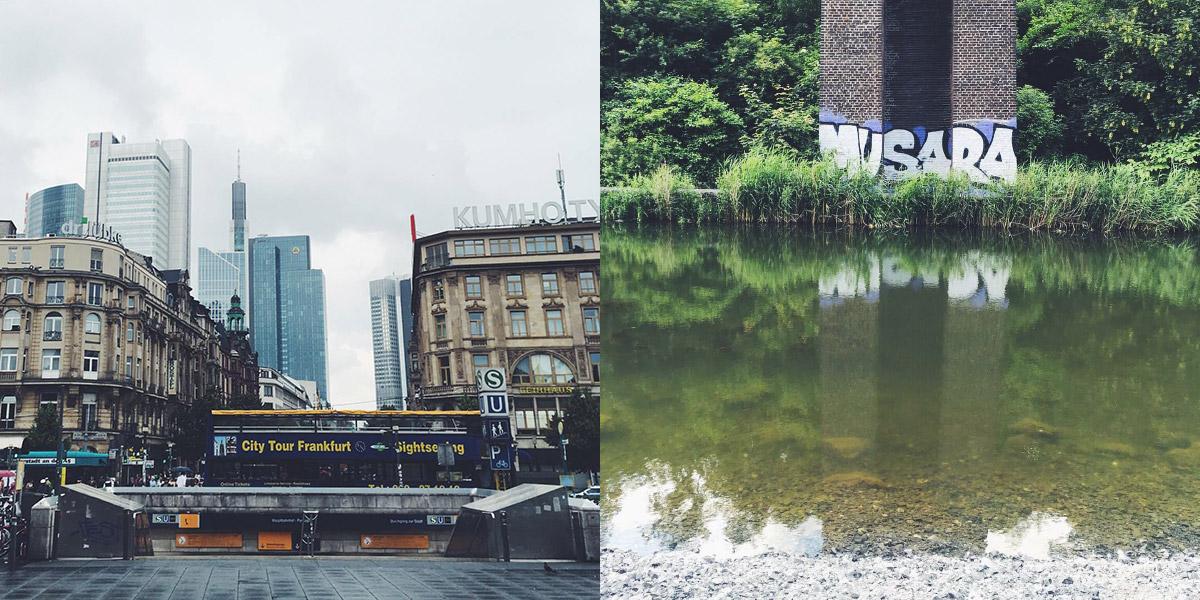 Frankfurter Skyline vom Bahnhofseingang aus gesehen, im Vordergrund Gründerzeithäuser, ein Brückenpfeiler mit einem Grafitti spiegelt sich in einem Gewässer