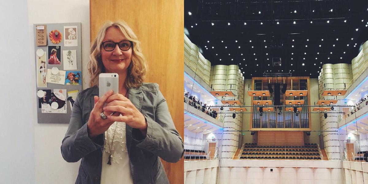 Anke Hedfeld mit gelockten Haaren und im Ausgehoutfit, daneben ein Detail vom Innenraum des Dortmunder Konzerthauses