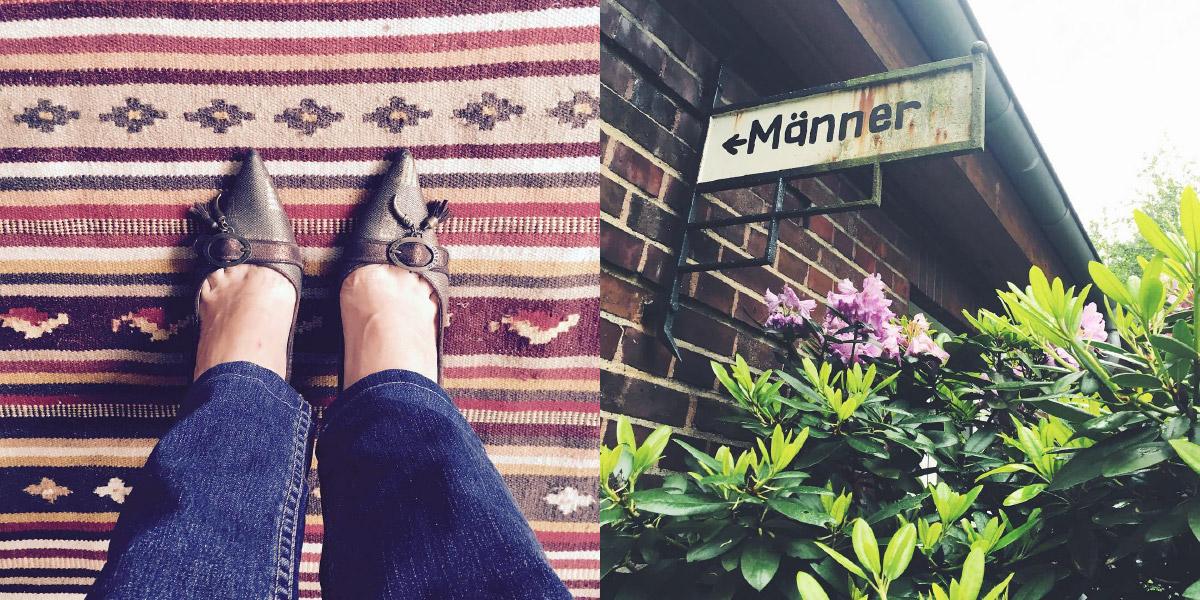 Bild von oben auf Füße mit spitzen italienischen Schuhen, Hinweisschild auf eine Männertoilette