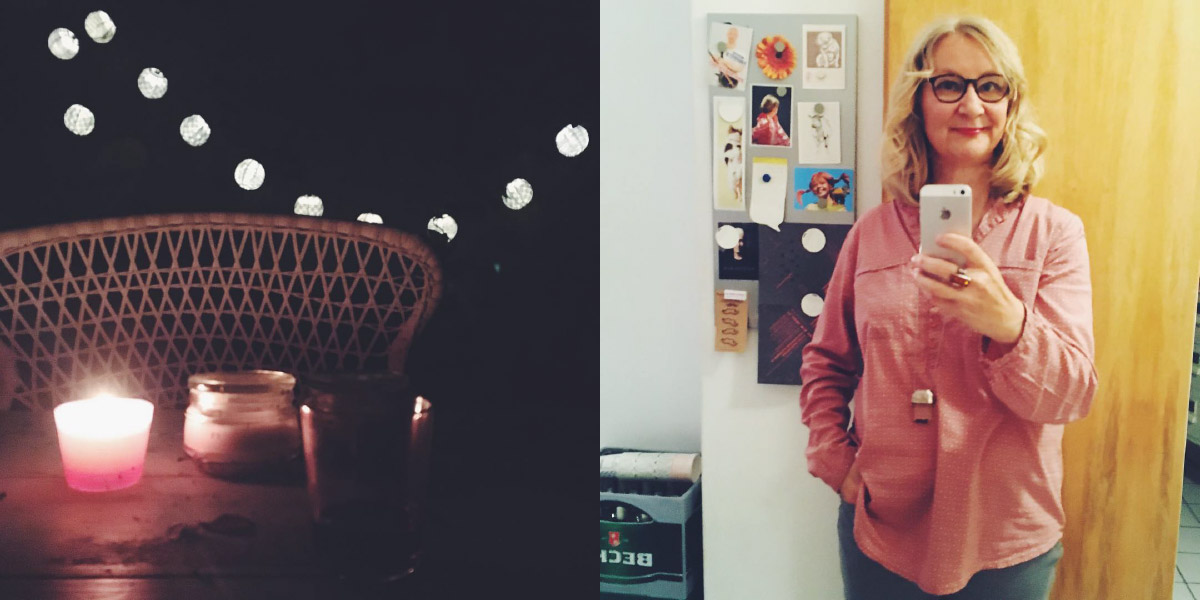 Garten bei Nacht mit Lichterkette im Hintergrund, Anke Hedfeld in rosa Bluse