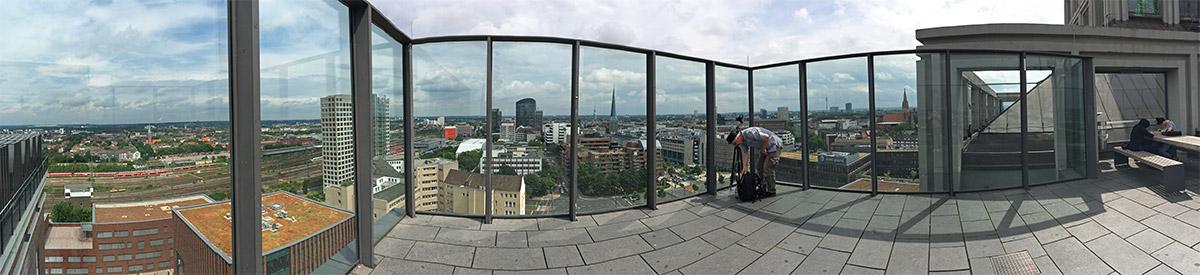 Panoramaaufnahme Dortmunder U Aussichtsplattform