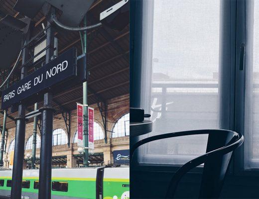 Fotocollage aus zwei Bildern Bahnhof Gare du Nord und Blick aus einem Hotelzimmer Montparnasse Paris