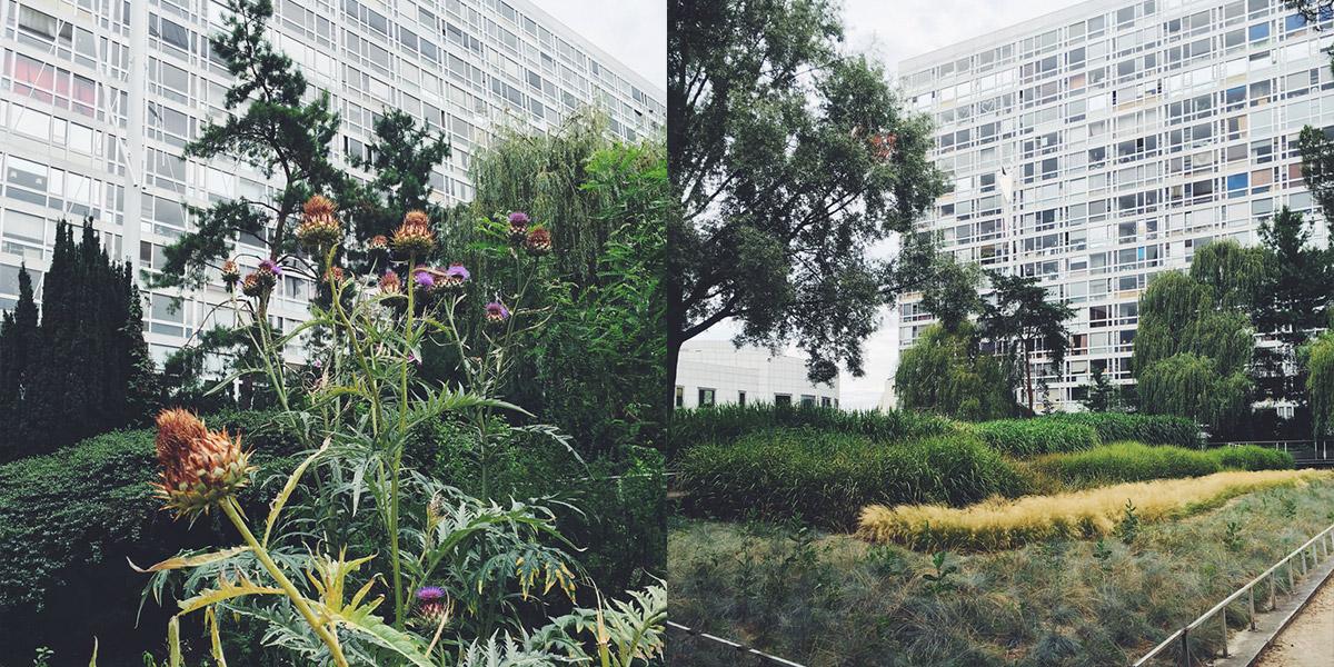 Fotocollage aus zwei Bildern Jardin Atlantique Bahnhof Montparnasse Paris