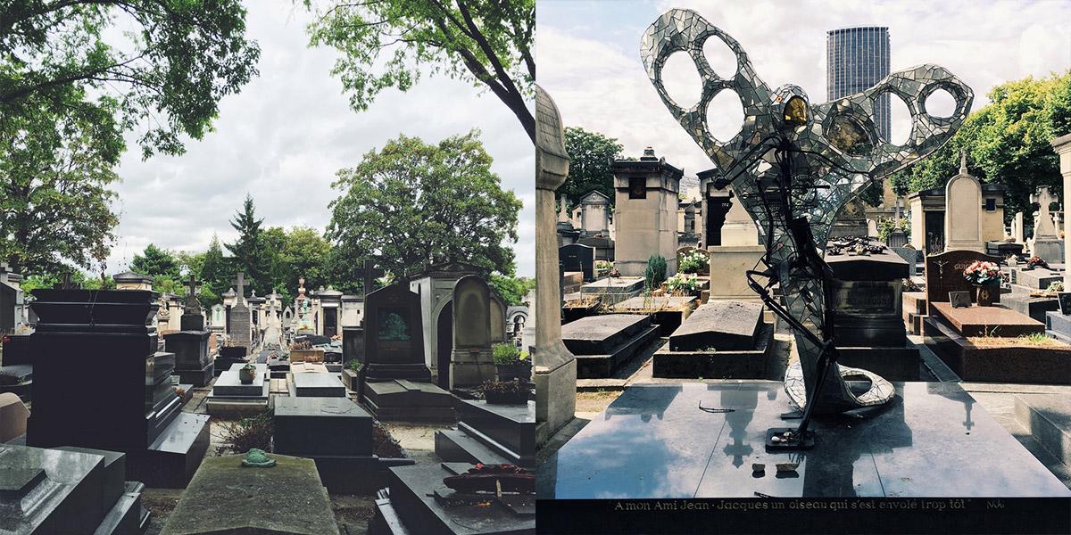 Fotocollage aus zwei Bildern Cimetière Montparnasse und Grab von Jean Jacques Tanguy mit Vogelfigur von Niki de Saint Phalle