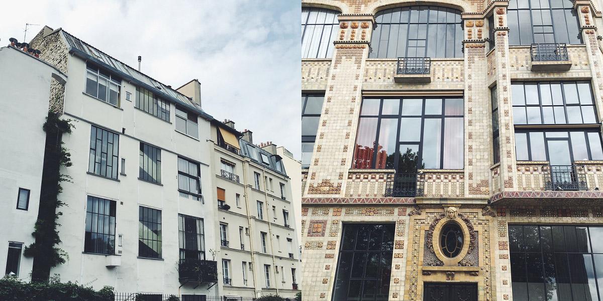 Fotocollage aus zwei Bildern Häuserfassaden in Paris