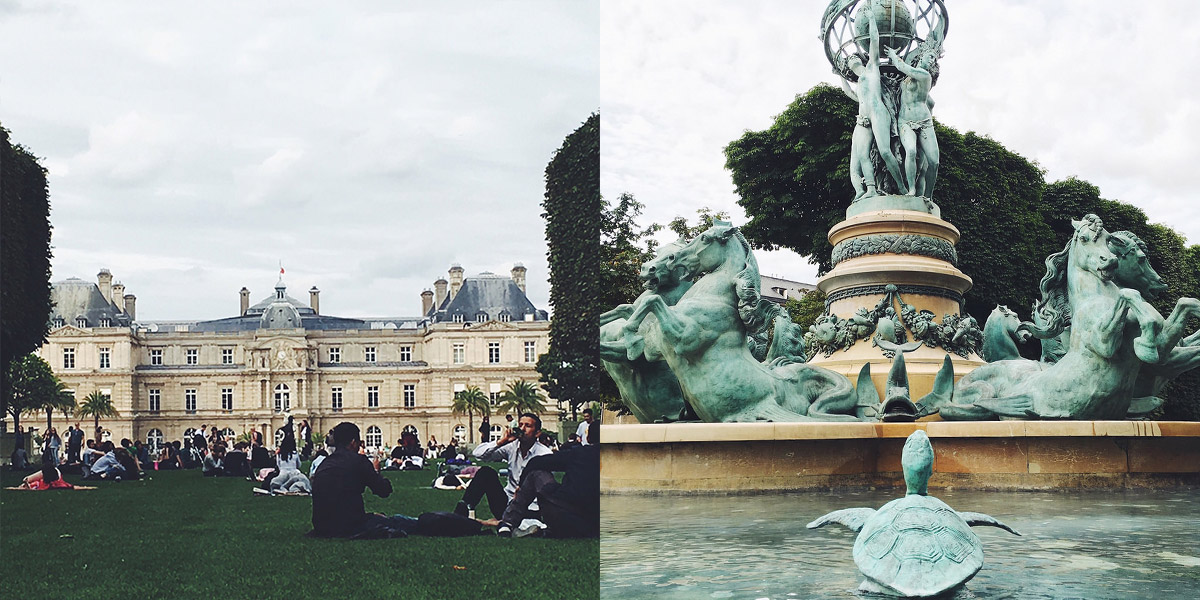 Fotocollage aus zwei Bildern Jardin du Luxembourg Paris
