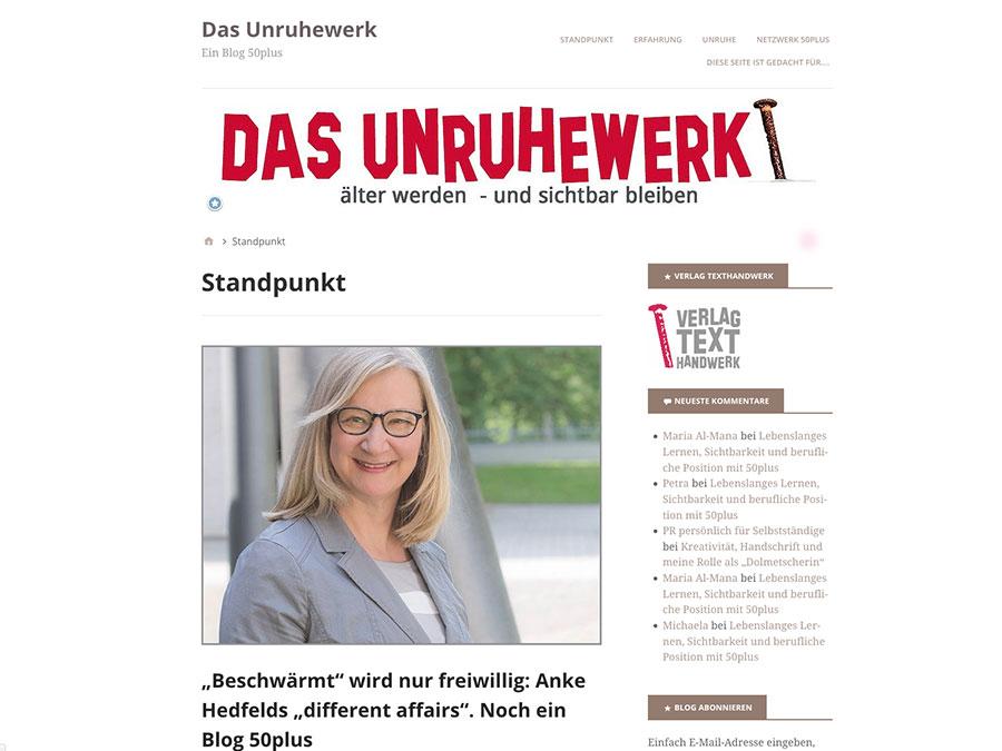 Screenshot des Blogs Das Unruhewerk von Maria Al-Mana, Interview mit Dr. Anke Hedfeld