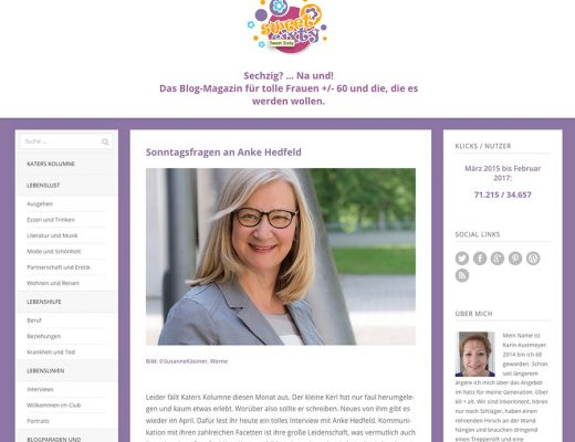 Screenshot des Blogs Sweet Sixty von Karin Austmeyer, Interview mit Dr. Anke Hedfeld