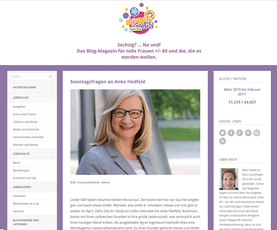Screenshot des Blogs Sweet Sixty von Karin Austmeyer, Interview mit Dr. Anke Hedfeld