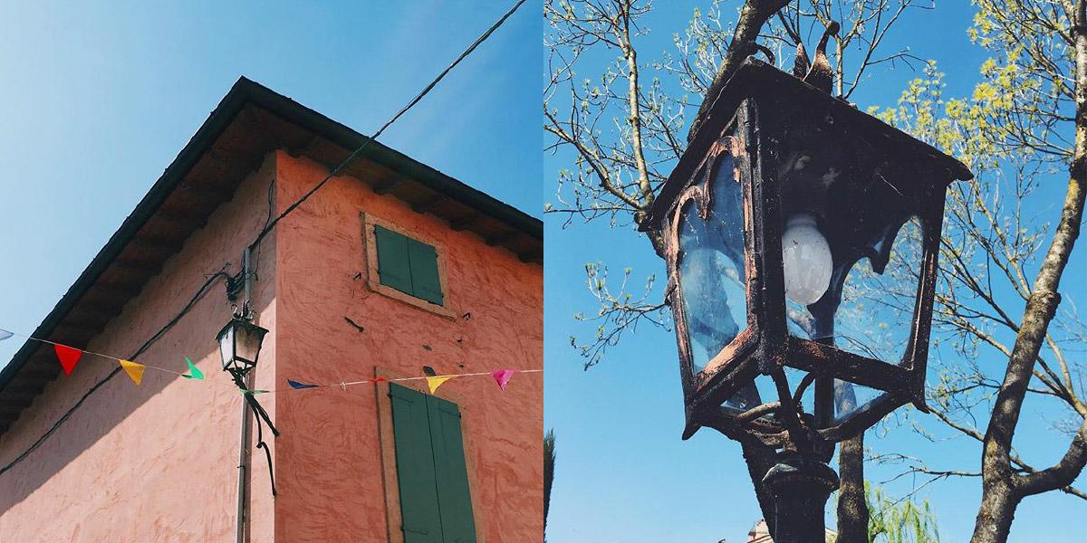 Eine Fotocollage zeigt zwei Bilder aus Borgehtto, Italien