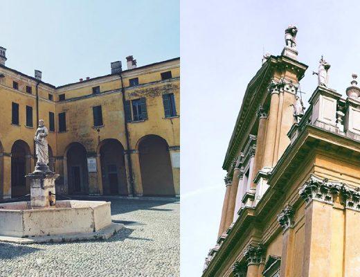 Eine Fotocollage zeigt zwei Bilder aus Castiglione delle Stiviere, Italien