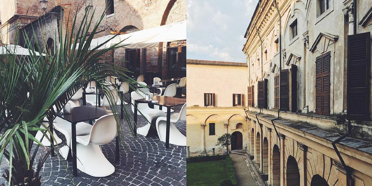Eine Fotocollage zeigt zwei Bilder aus Mantuva, Italien. Gastronomie im Innestadtbereich, Patio des Palazzo Ducale