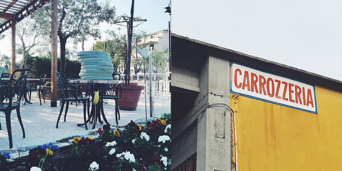 Eine Fotocollage zeigt zwei Bilder aus Sirminone, Italien