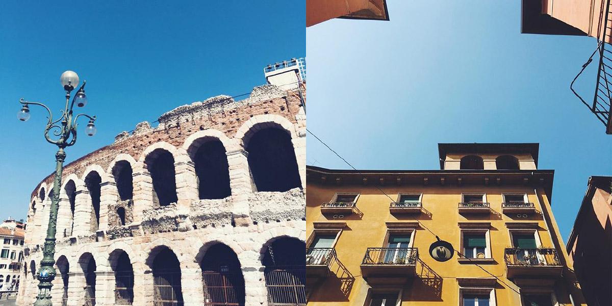 Eine Fotocollage zeigt zwei Bilder aus Verona, Italien