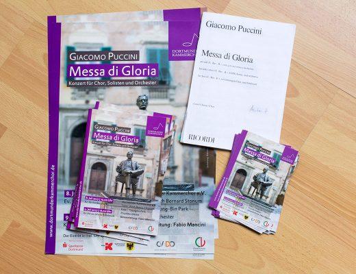 Plakate, Programmhefte und Flyer Messa di Gloria mit dem Dortmunder Kammerchor