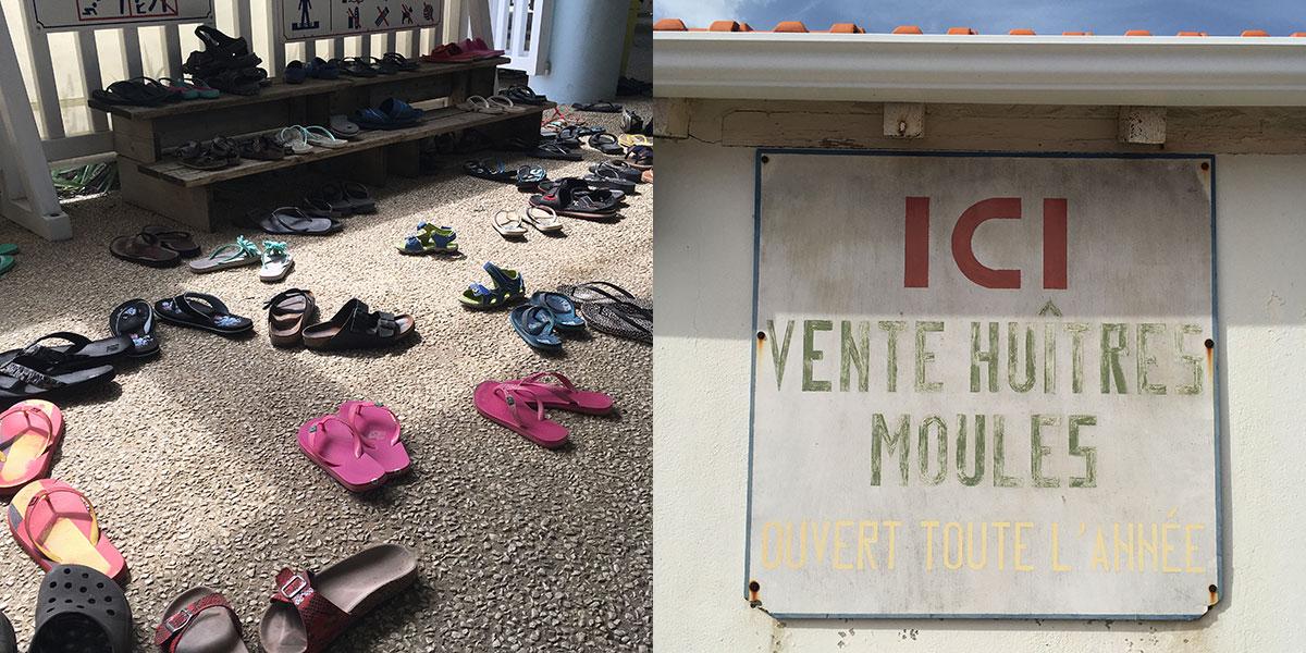 Bildercollage FlipFlops und ein Schild auf dem steht ICI vente huitres moules
