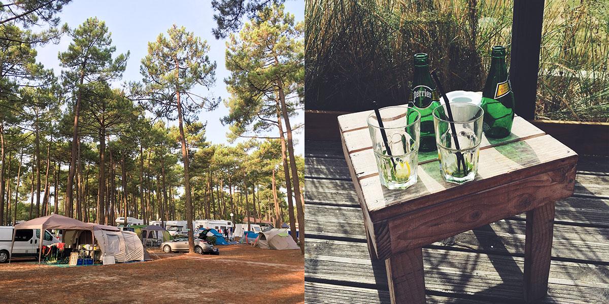 Ein Campingplatz unter Pinien, ein kleiner Holztisch mit zwei Flaschen Perrier darauf