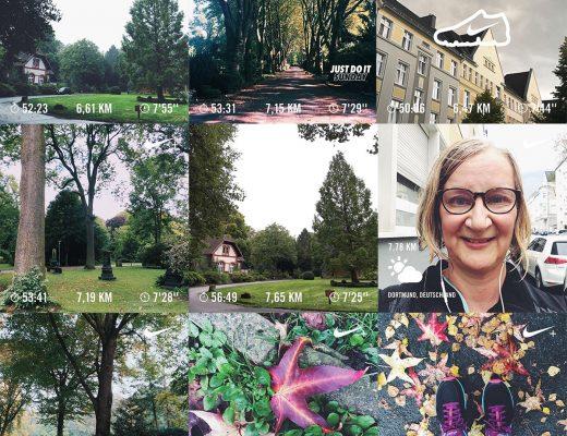 Collage aus der der Nike Running Club App meistens Süd-West-Friedhof in Dortmund