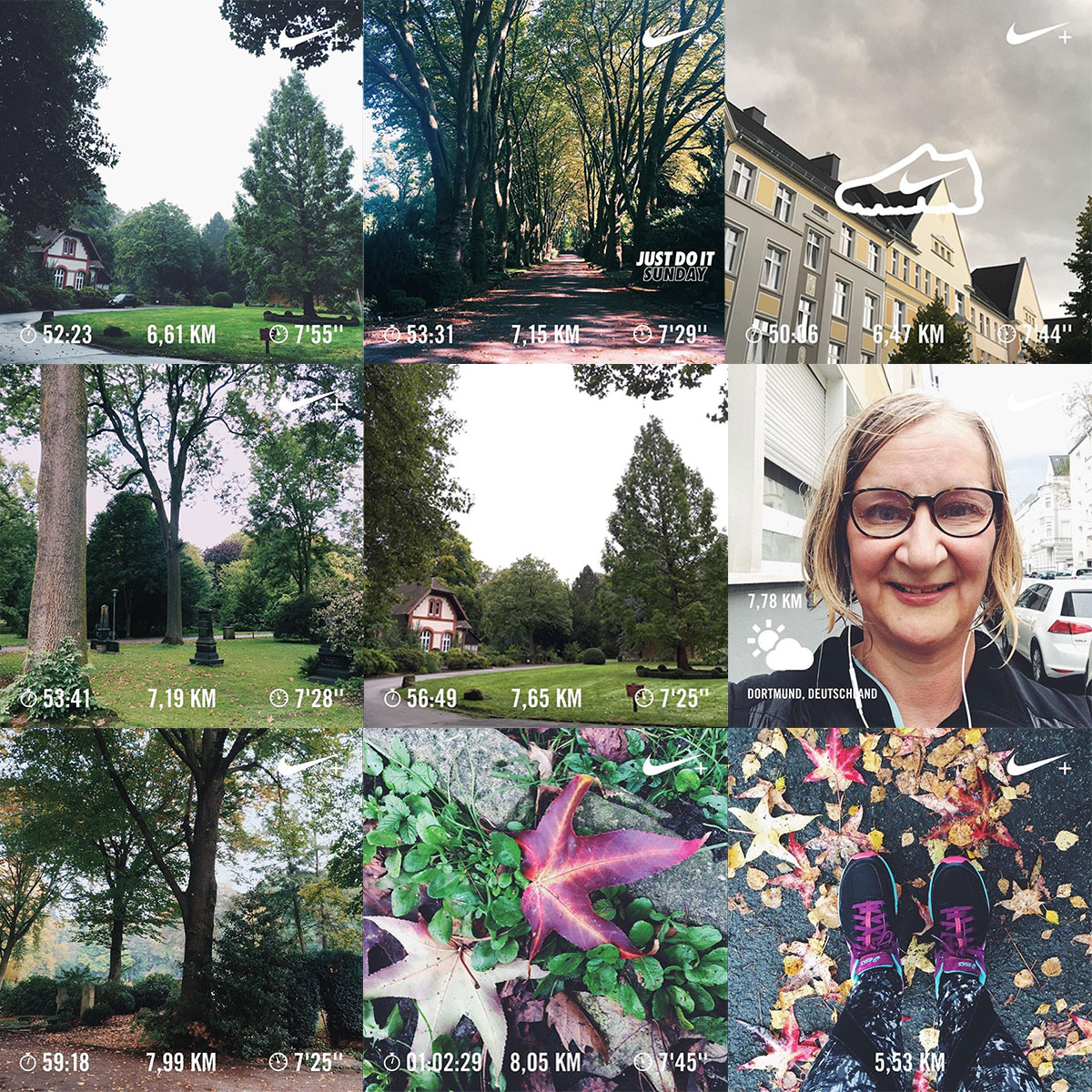 Collage aus der der Nike Running Club App meistens Süd-West-Friedhof in Dortmund