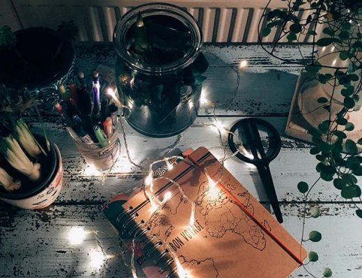 Ein Stillleben auf einem Schreibtisch: Stifte, Notizbücher, Schere, Pflanzen