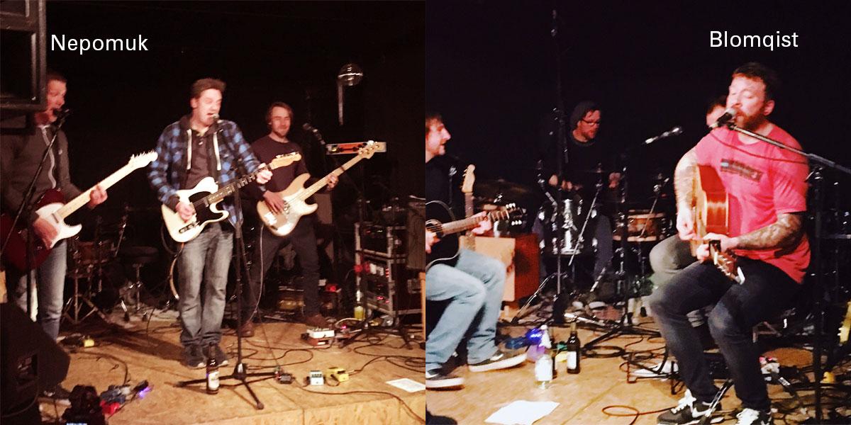 """Zwei Bands auf einer Bühne darüber die Schriftzüge """"Nepomuk"""" und """"Blomqist"""""""