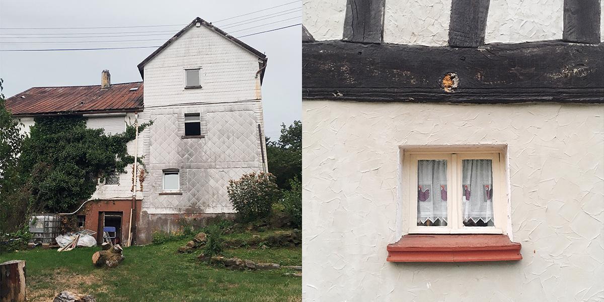 Foto Szene Landleben Haus und Fensternische eines Hauses im Westerwald