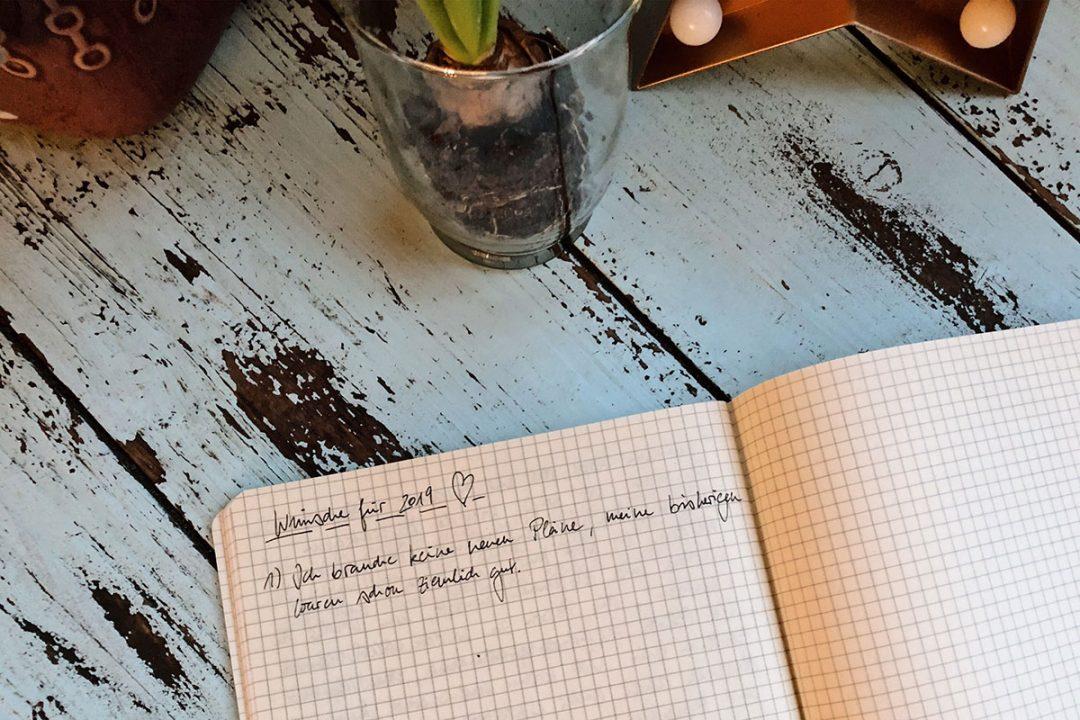 """Ein aufgeschlagenes Notizbuch mit dem Satz """"Ich brauche keine neuen Pläne, meine bisherigen waren schon ziemlich gut."""